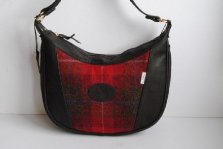 Skye Deer Leather and Harris Tweed Bag Red